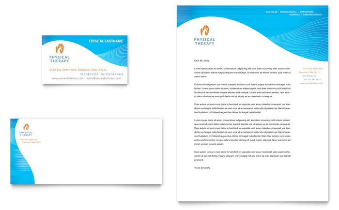 Physical Therapist Business Card & Letterhead Template - Word ...