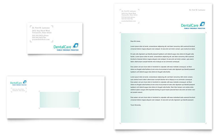 Dental Care Business Card & Letterhead Template - Word & Publisher