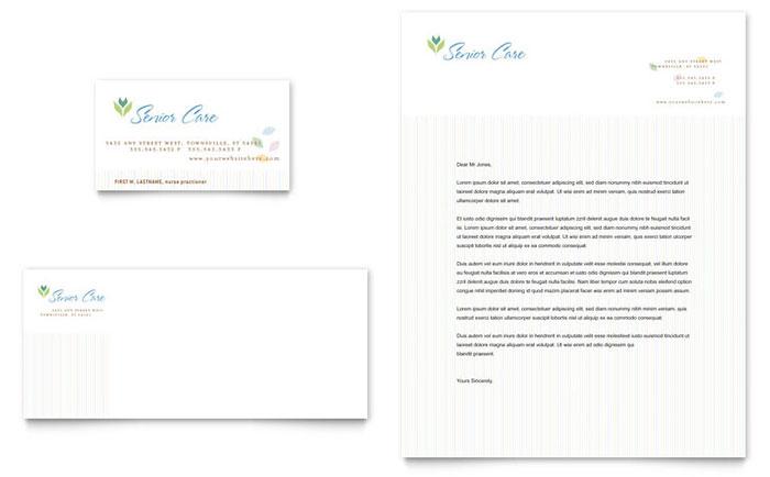 elder care  u0026 nursing home business card  u0026 letterhead