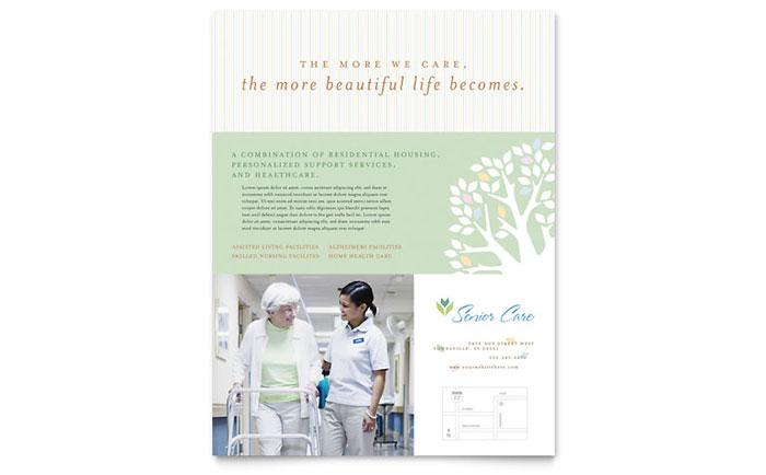 elder care  u0026 nursing home flyer template
