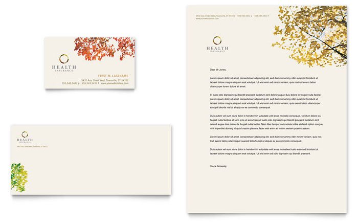 Health Insurance Company Business Card & Letterhead Template - Word & Publisher