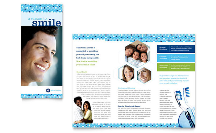 Dentistry dental office brochure template word publisher for Ms office brochure templates