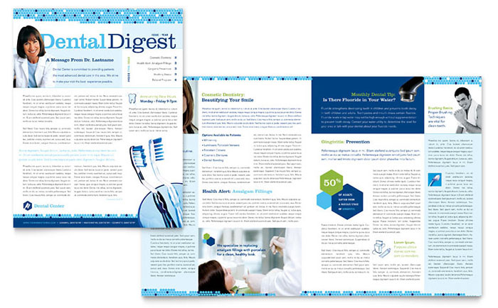dentistry  u0026 dental office newsletter template