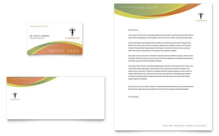 Massage & Chiropractic Business Card & Letterhead Template - Word & Publisher