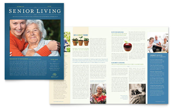 Senior Living Community Newsletter Template Word Amp Publisher