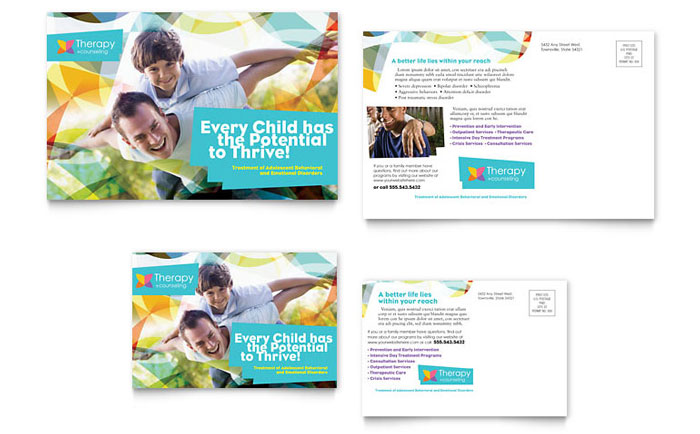 Adolescent counseling postcard template word publisher for Counseling brochure templates free