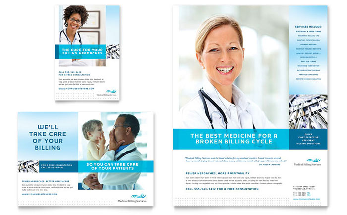 Medical billing coding flyer ad template word for Healthcare brochure templates free download