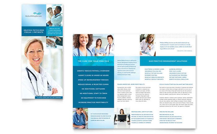 Medical billing coding tri fold brochure template word for Medical office brochure templates