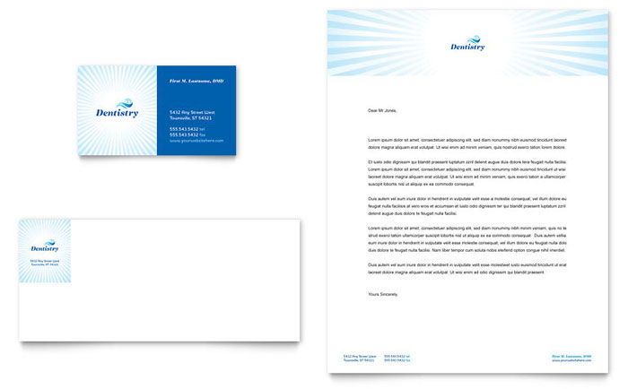 Family Dentistry Business Card & Letterhead Template - Word & Publisher