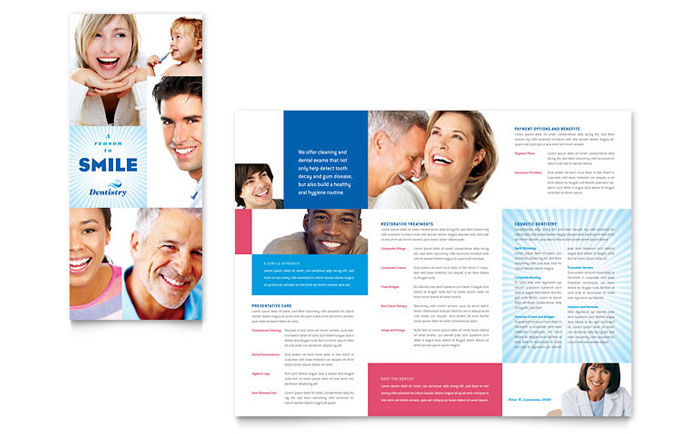 Dentist - Tri Fold Brochure Templates - Word & Publisher