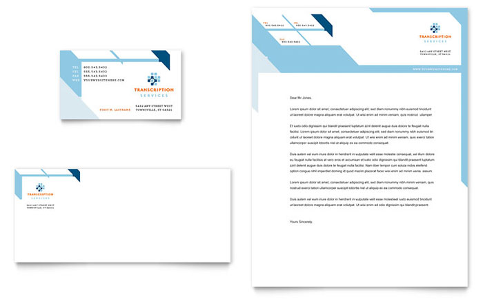 Medical Transcription Business Card & Letterhead Template - Word & Publisher