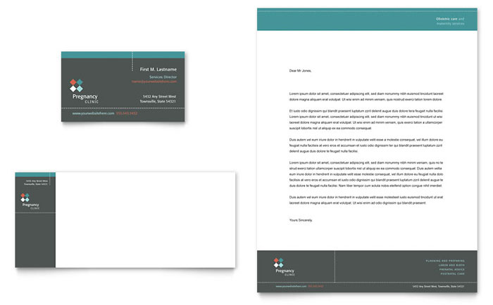 Pregnancy Clinic Business Card & Letterhead Template - Word & Publisher