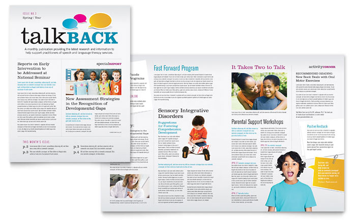 Speech Therapy Education Newsletter Template - Word & Publisher