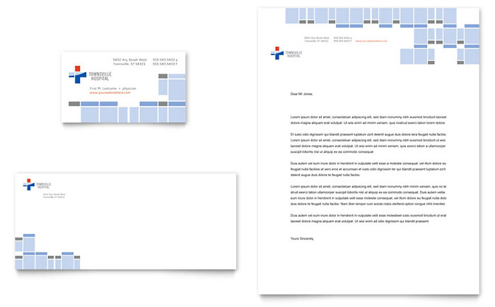Hospital Business Card & Letterhead - Word Template & Publisher Template