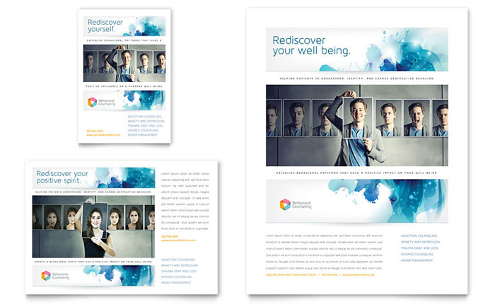 Behavioral counseling flyer ad template word publisher for Counseling brochure templates free