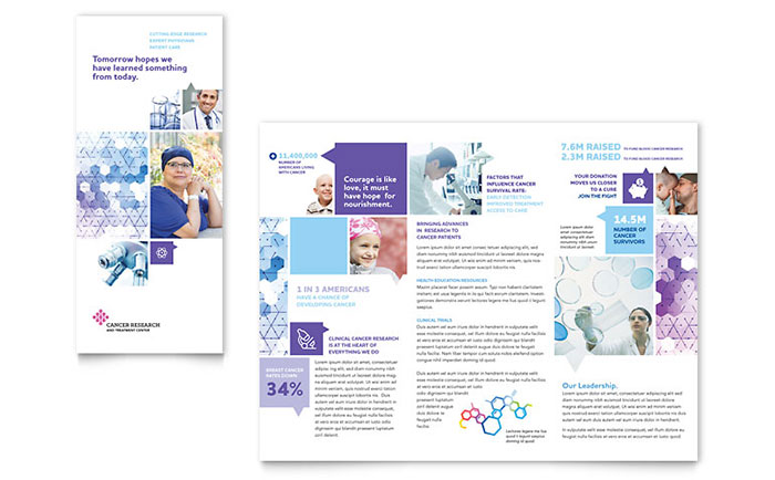 Cancer treatment tri fold brochure template word publisher for Microsoft works templates brochure