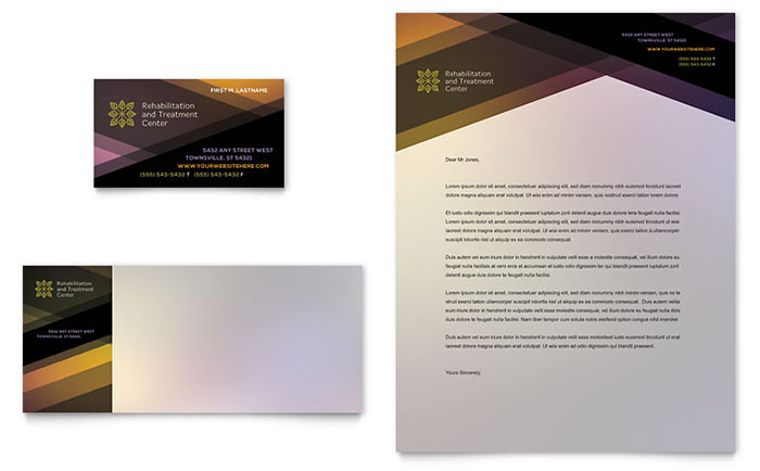 Rehab Center Business Card & Letterhead Template - Word & Publisher