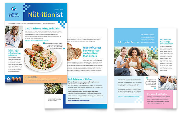 Dietitian Newsletter Template - Word & Publisher