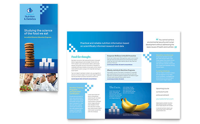Dietitian tri fold brochure template word publisher for Microsoft word templates for brochures