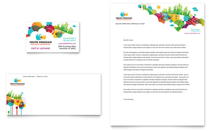 Youth Program Business Card & Letterhead Template - Word & Publisher