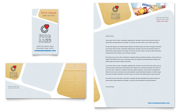 Food Bank Volunteer Business Card & Letterhead Template - Word & Publisher