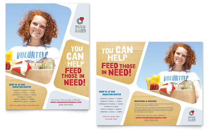 Food Bank Volunteer Poster Template - Word & Publisher