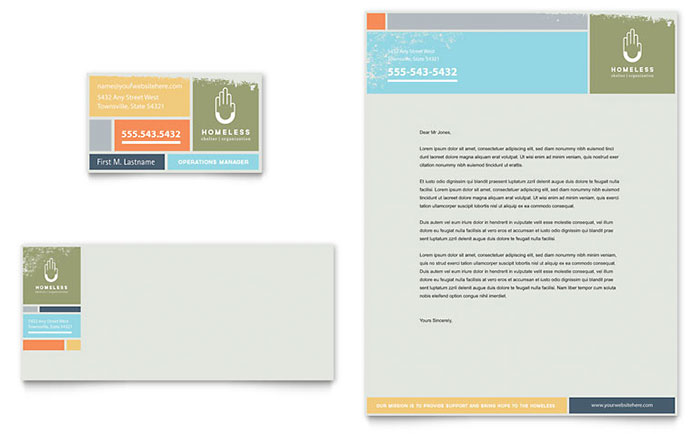 Homeless Shelter Business Card & Letterhead Template - Word & Publisher