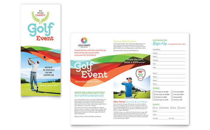 charity golf event brochure template word publisher. Black Bedroom Furniture Sets. Home Design Ideas