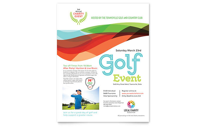 golf brochure templates - charity golf event flyer template word publisher