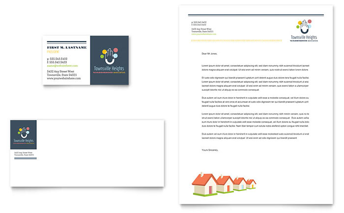 Homeowners Association Business Card & Letterhead Template - Word & Publisher