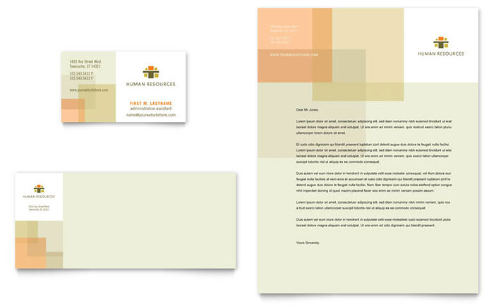 HR Consulting Business Card & Letterhead Template - Word & Publisher