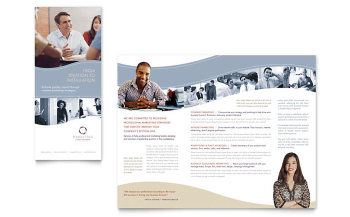 Marketing consulting group brochure template word for Marketing brochures templates