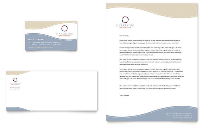 Marketing Consulting Group Business Card Letterhead Template – Free Business Stationery Templates for Word