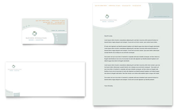 Business Consulting Business Card & Letterhead Template - Word & Publisher