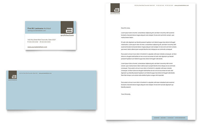 Architect Business Card & Letterhead Template Word