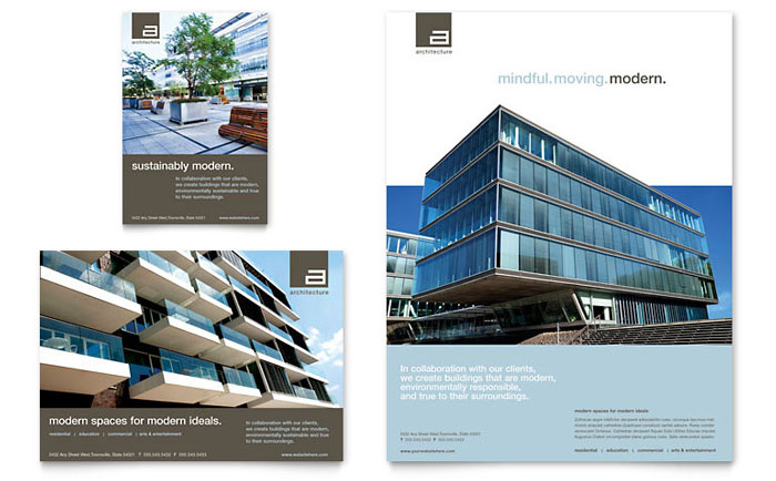 Architect Flyer & Ad Template - Word & Publisher