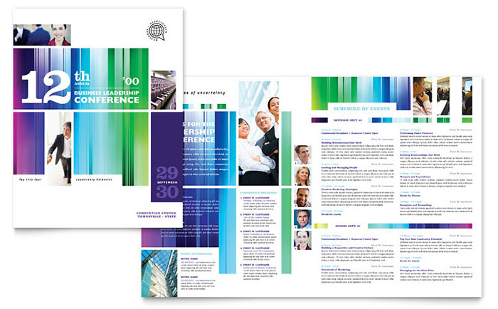11x17 half fold brochure template - business leadership conference brochure template word