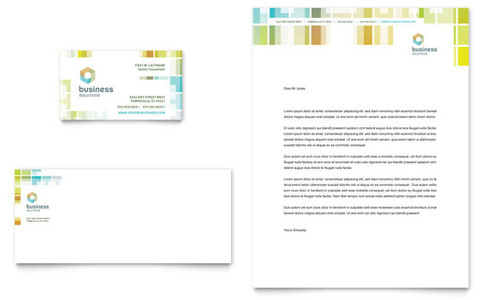 Business Solutions Consultant Business Card & Letterhead Template - Word & Publisher
