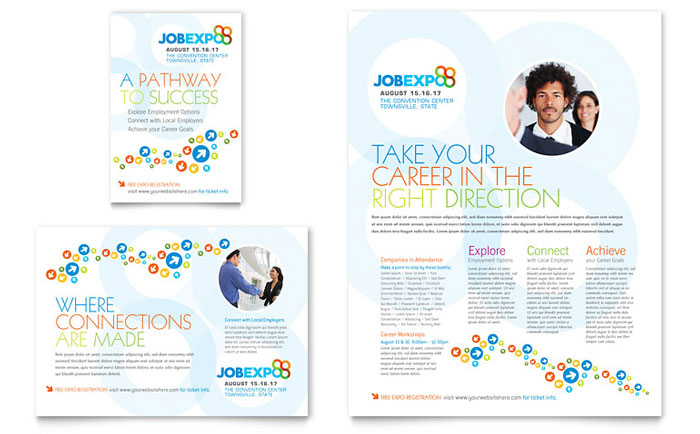 job expo  u0026 career fair flyer  u0026 ad template