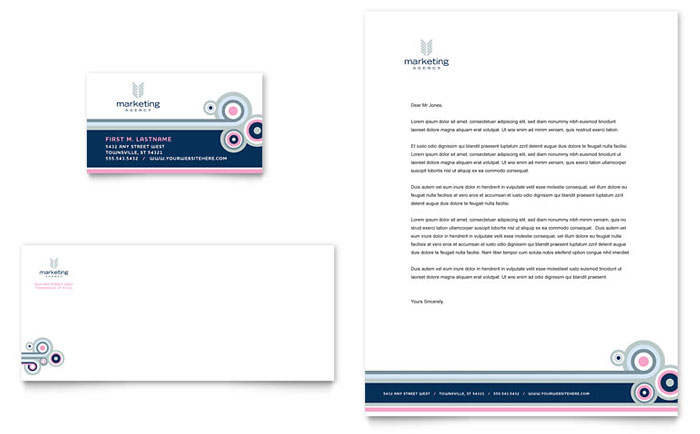 Marketing Agency Business Card & Letterhead Template - Word & Publisher