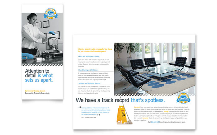 Janitorial office cleaning tri fold brochure template for Ms office brochure templates