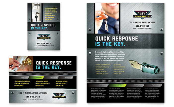 Locksmith Flyer & Ad Template - Word & Publisher