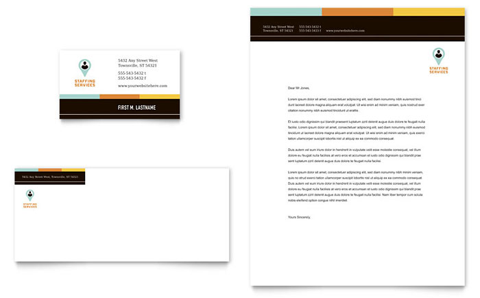 Recruiter Business Card & Letterhead Template - Word & Publisher