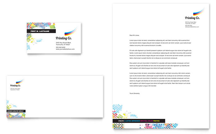 Printing Company Business Card & Letterhead Template - Word & Publisher