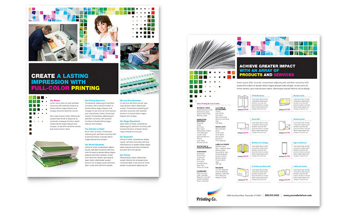 Printing Company Datasheet Template - Word & Publisher
