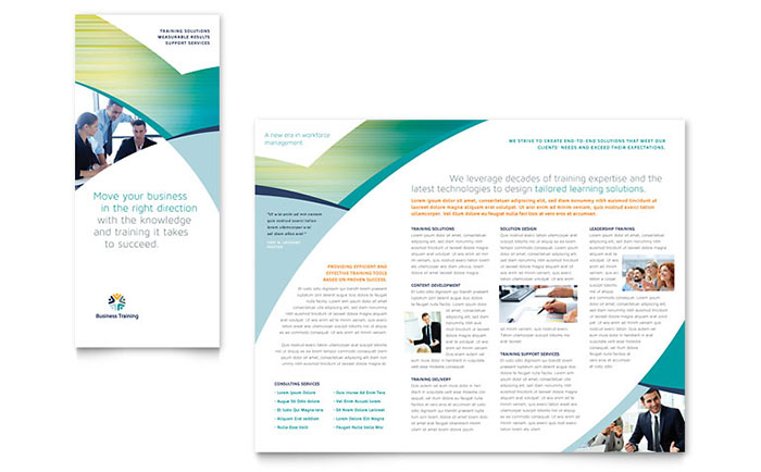 Business training tri fold brochure template word for Tri fold brochure word template
