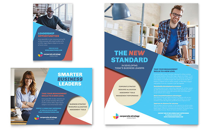 Corporate Strategy Flyer & Ad Template - Word & Publisher
