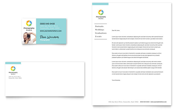 Photographer Business Card & Letterhead Template - Word & Publisher