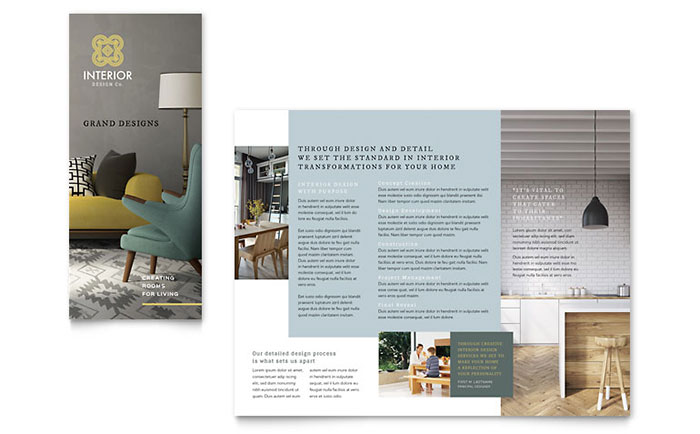 Interior design tri fold brochure template word publisher for Microsoft works templates brochure
