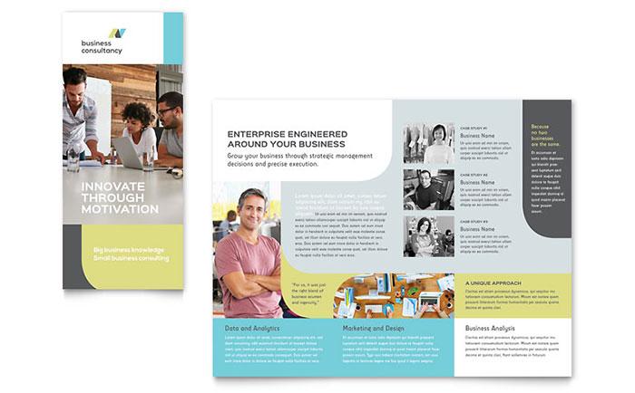 small brochure template - small business consultant tri fold brochure template